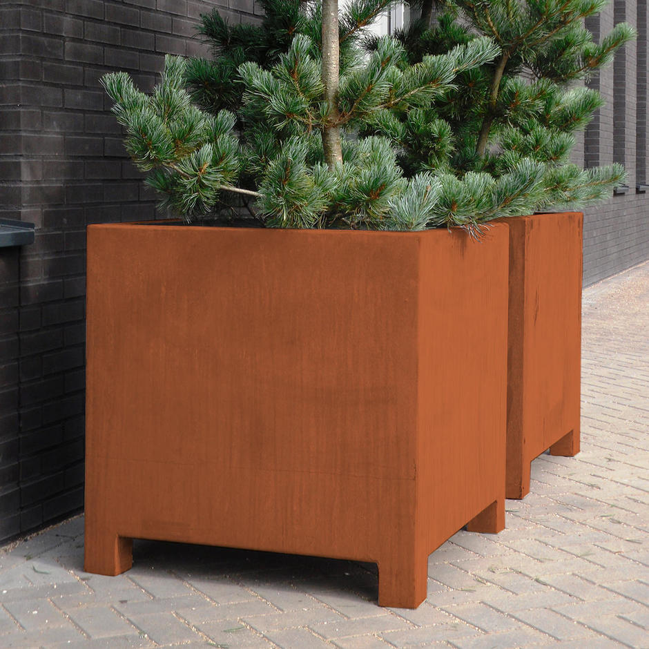 Square Corten Steel Planters with feet