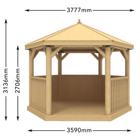 Furnished Timber Roofed Hexagonal 3.6m Gazebo