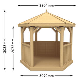 Furnished Cedar Tiled Roof Hexagonal 3m Gazebo