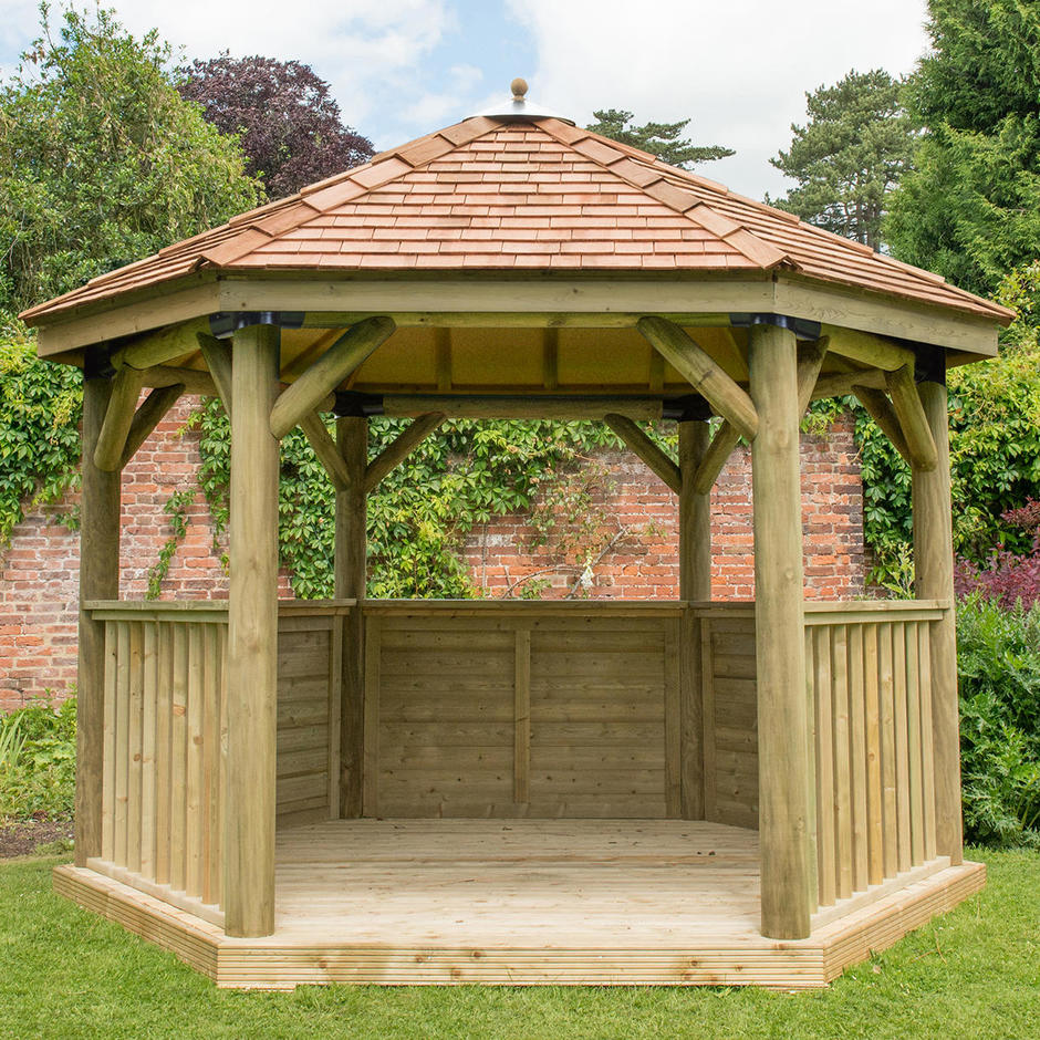 Cedar Tiled Roof Hexagonal 3.6m Gazebo