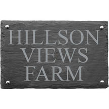 Rusic Slate Three Line House Sign - Size 4