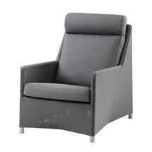 Diamond Highback Chair with All Weather Sunbrella Cushions - Grey