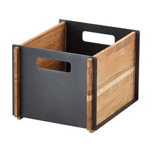 Box storage box - Teak, Lava grey