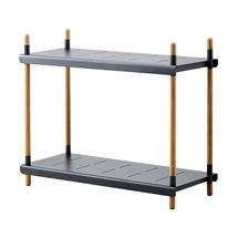 Frame Outdoor Low Shelving System - High - Teak / Lava Grey