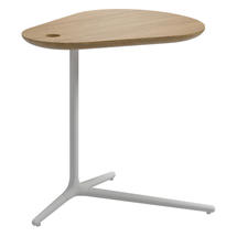 Trident White Side Table - Buffed Teak Top