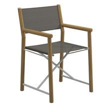 Voyager Buffed Teak Directors Chair - Granite Sling
