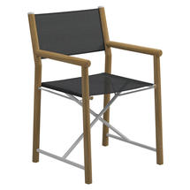 Voyager Buffed Teak Directors Chair - Anthracite Sling