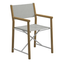Voyager Buffed Teak Directors Chair - Seagull Sling