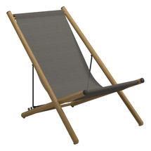 Voyager Buffed Teak Deck Chair - Granite Sling