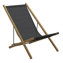 Voyager Buffed Teak Deck Chair - Anthracite Sling