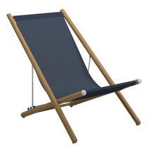 Voyager Buffed Teak Deck Chair - Sapphire Sling
