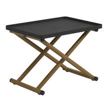Voyager Folding Tray Stand - Buffed Teak / Meteor