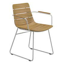 William Dining Chair with Arms - Buffed Teak / White