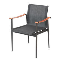 180 Stacking Chair with Leather Arms - Anthracite Sling