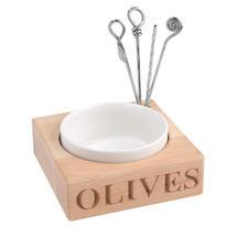 Ceramic & Beech Wood Olive Server
