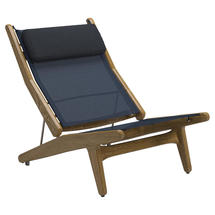 Bay Reclining Chair Buffed Teak - Sapphire Sling with Ink Headrest