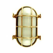 Large Oval Bulkhead Wall Light - Brass