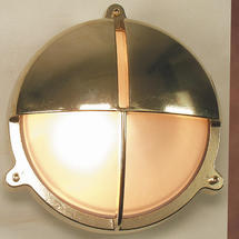 Large Bulkhead with Split Shade - Brass with External Fixing Legs