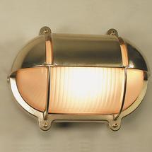 Medium Oval Bulkhead with Shade - Brass