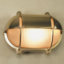Large Oval Bulkhead with Shade - Brass