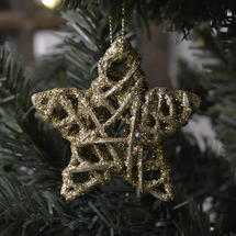 Hanging Glitter Star Decoration - Gold