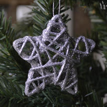 Hanging Glitter Star Decoration - Silver