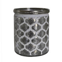 White Patterned Cylindrical Tealight Holder