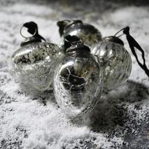 Silver Crackle Snow Drop Baubles -set of 4