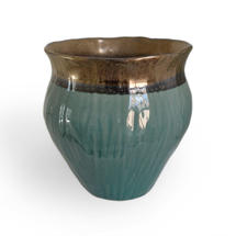 Gold & Turquoise Plant Pot -Large