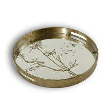 Antiqued Mirrored Tray with Cow Parsley Pattern