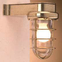 Bulkhead Light with Side Arm - Brass