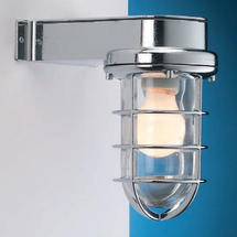 Bulkhead Light with Side Arm - Chrome