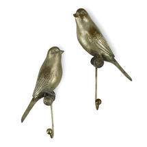 Antiqued Bird Hooks Set of 2