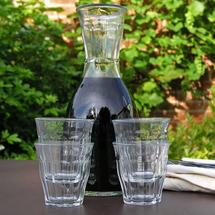 French Glass Carafe and 4 Glasses