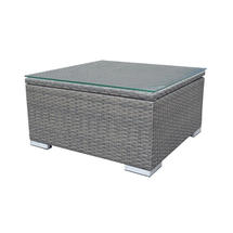 London Ottoman - Grey / Glass and Cushion