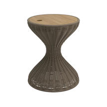 Bells Woven Side Table Parchment with Buffed Teak Top