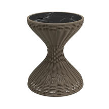 Bells Woven Side Table Parchment with Nero Ceramic Top