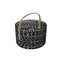Outdoor Basket with leather handle - Dark
