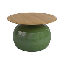 Blow 65cm Round Side Table Buffed Teak Top - Emerald