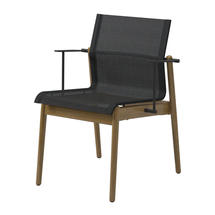 Sway Buffed Teak Stacking Armchair - Meteor/Anthracite