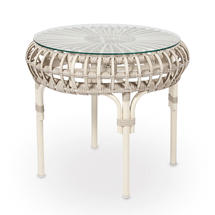 Lucy Round Side Table with Glass Top