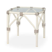 Lucy Square Side Table with Glass Top