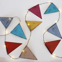 LED multi coloured Metal Bunting lights