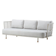 Sense Indoor 3 seater Sofa White Rattan with Raised Weavecushions