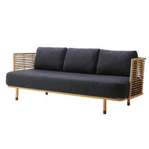 Sense Indoor 3 seater Sofa Rattan with Flat Weave cushions