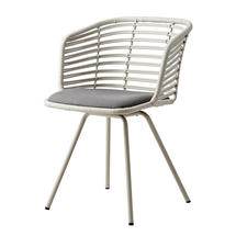 Spin Indoor Rattan Chair - White Rattan with sunbrella cushion