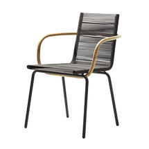 Sidd Stackable Chair with Arms - Brown