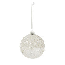 8cm Embossed Glass Baubles - Harlequin