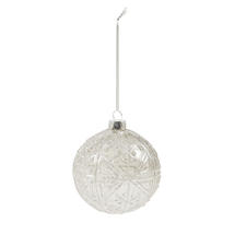 8cm Embossed Glass Baubles - Snowflake