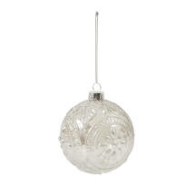8cm Embossed Glass Baubles - Flower